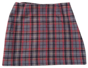 The Limited Mini Skirt Red and Gray Plaid