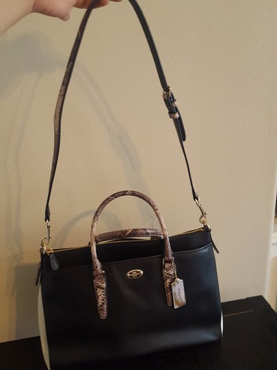 Coach Satchel in Blk/Wht/Embossed Python Image 2