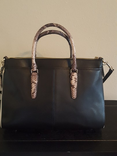 Coach Satchel in Blk/Wht/Embossed Python Image 3