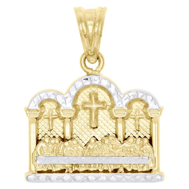 """Jewelry For Less Yellow Gold 10k Two Tone Diamond Cut Last Supper Pendant 1"""" Charm Jewelry For Less Yellow Gold 10k Two Tone Diamond Cut Last Supper Pendant 1"""" Charm Image 1"""