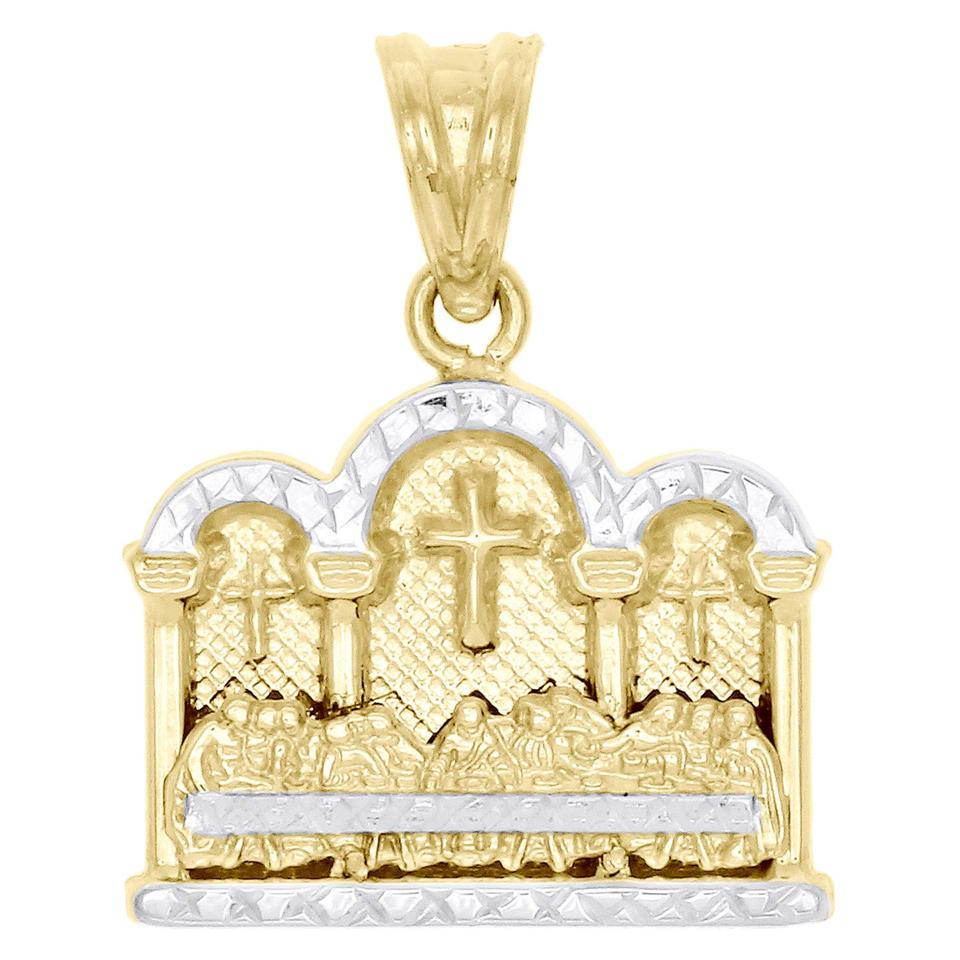 Jewelry For Less 10k Yellow Gold Two Tone Diamond Cut Last Supper Pendant 1