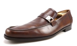 Salvatore Ferragamo Brown Men's Leather Loafers Slip On Shoes