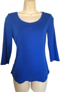 Chico's 3/4 Sleeves Petite T Shirt Cobalt Blue
