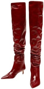 Zara Over The Knee Leather red Boots