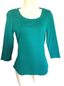 Chico's 3/4 Sleeves Cotton T Shirt Teal green