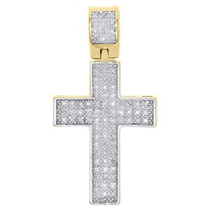"""Jewelry For Less Genuine Round Diamond Cross Pendant 1.10"""" Sterling Silver Charm .30 CT"""
