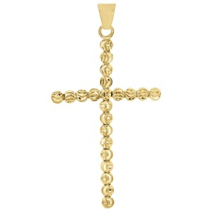 Jewelry For Less 10K Yellow Gold 3mm Diamond Cut Cross Beaded Moon Cut Pendant Charm