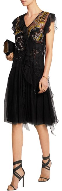 Item - Black W Unique Couture W/Liner Ruffled Tulle Runway Mid-length Night Out Dress Size 6 (S)
