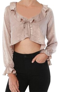 Donna Mizani Ruffle Drawstring Long Sleeve Night Out Crop Top Nude/Blush