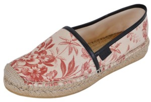 Gucci Espadrille Slip On Slides Cream/Soft Red Flats