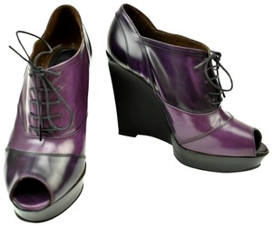 Marni Leather Platform Strap Lace Up Violet Pumps