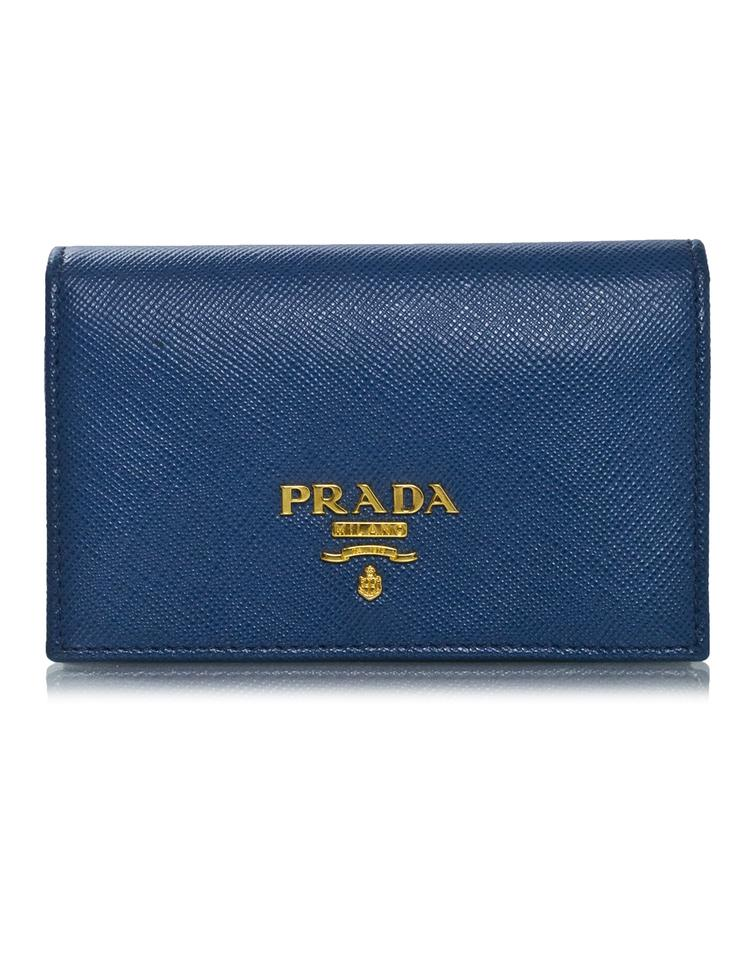 Prada Blue Saffiano Leather Card Holder Wallet - Tradesy