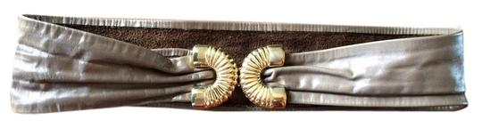 Other Vintage Leather Belt with Gold Buckle