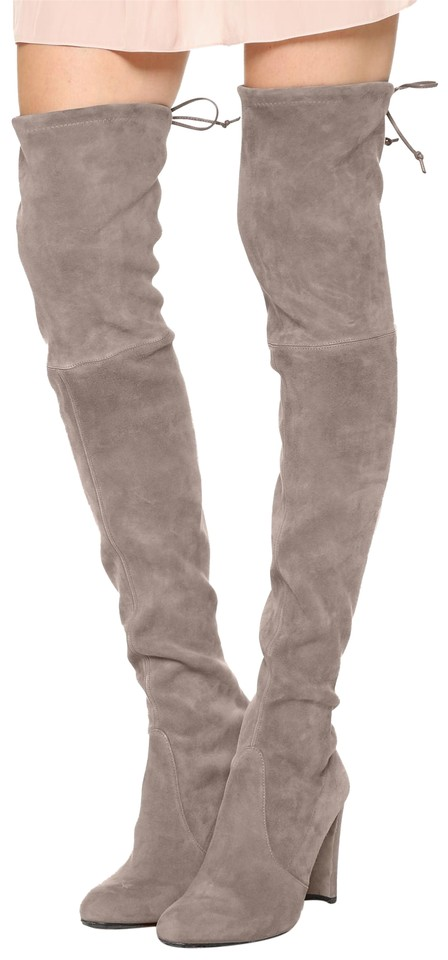 Stuart Weitzman Too Taupe Grey 'highland' The Suede Leather Otk Over The 'highland' Knee Boots/Booties 9ae741