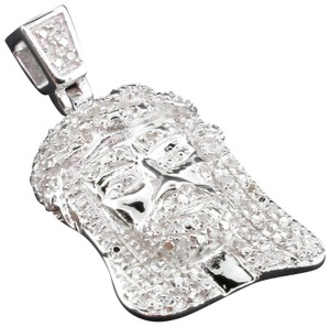 Jewelry For Less Diamond Jesus Face Pendant Sterling Silver Round Cut Pave Charm .33 Ct