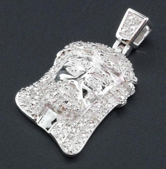 Jewelry For Less Diamond Jesus Face Pendant Sterling Silver Round Cut Pave Charm .33 Ct Image 1