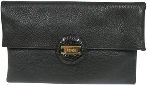 Fendi Pebbled Leather Foldover Black Clutch