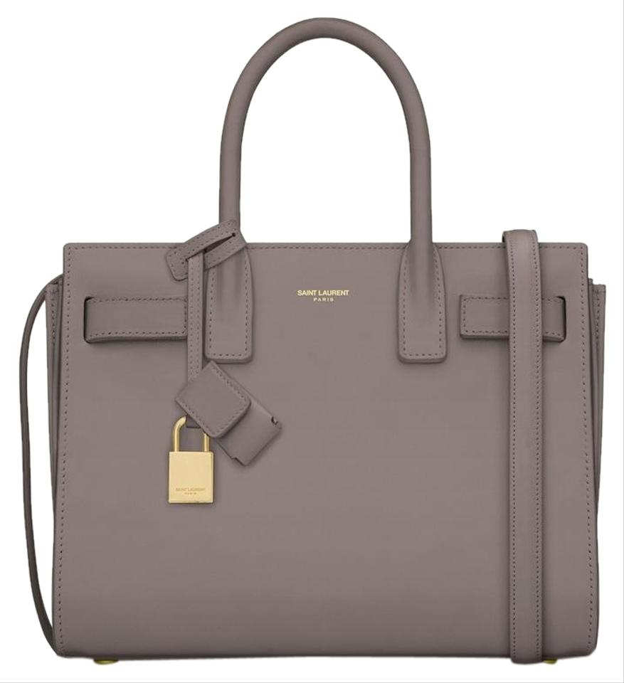 Saint Laurent Sac de Jour Classic Baby Light Grey Leather Shoulder ... ca0b32805e917