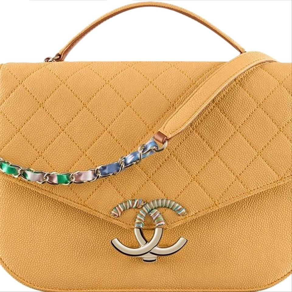 1fe1a400c389 Chanel Coco Cuba Flap with Top Handle Tan/Nude Leather Shoulder Bag ...