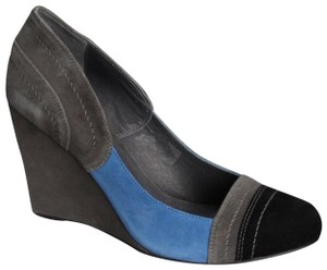 Chocolat Blu Suede Color-blocking Grey/Black/Blue Wedges