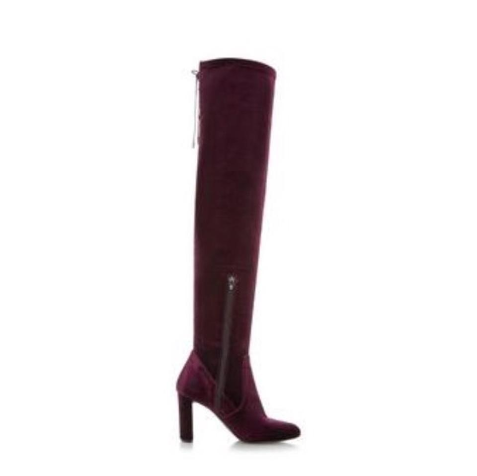 3cecd17067c6 Dune London Stella-burgundy Lace Up Back Over The Knee Boots Booties ...