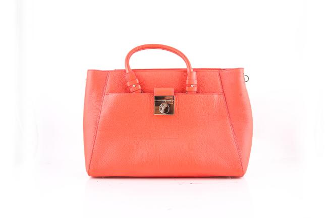 Item - Bianco Grained Calfskin Orange Leather Tote