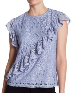 Topshop Ruffle Lace Lined Top lilac