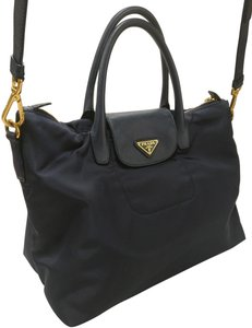 a6ecf3138499 Prada Black Satchel Tote Tessuto Cross Body Bag