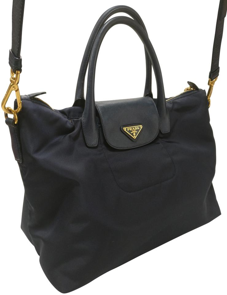 Prada Bn2106 Flap Tessuto Saffiano Leather Nylon Satchel Tote Navy Canvas  Cross Body Bag 2c83dc2816e2b
