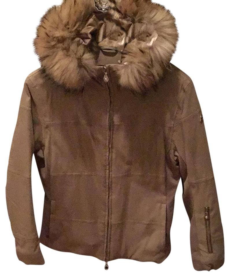 709d1f550ee Marker Tan Jacket with Fur Trimmed Hood Coat Size 6 (S) - Tradesy