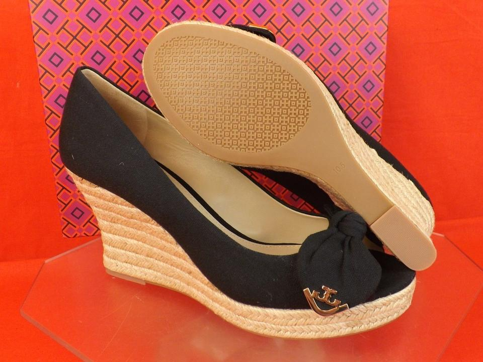 c37ed3cb1b5 Tory Burch Black 85 Canvas Bow Gold Reva Espadrille Wedges Sandals Size US  11 Regular (M, B) 35% off retail