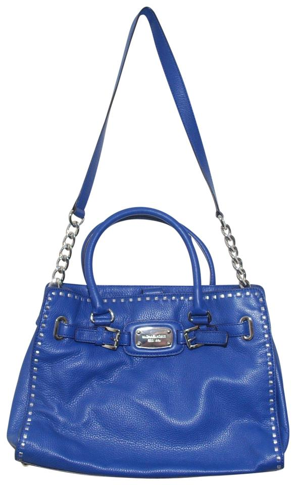 480175dc7f8a6 Michael Kors Hamilton East West Large Tech Whipped Silver Satchel Sapphire  Blue Leather Tote