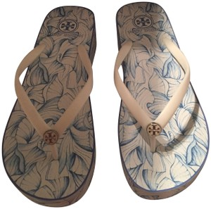 Tory Burch Blue and White Sandals