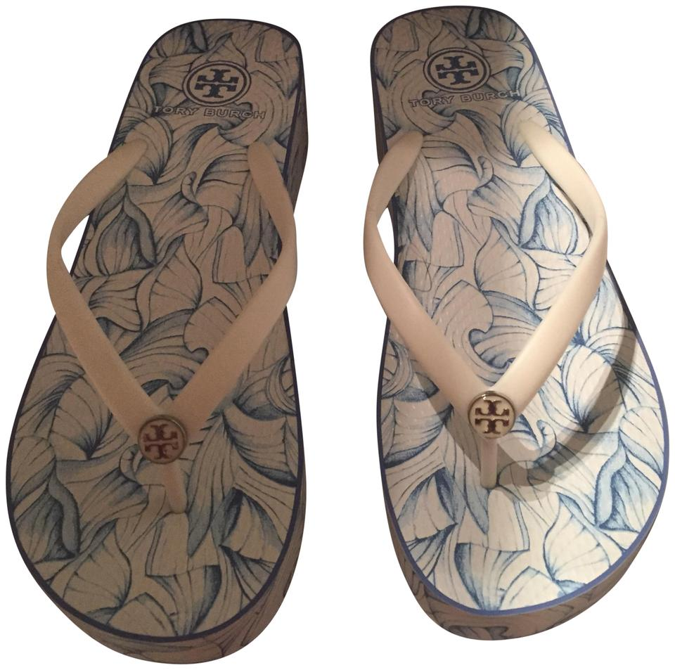 97f362455 Tory Burch Blue and White Thandie Wedge Sandals Size US 9 Regular (M ...