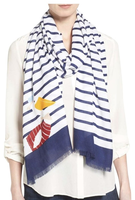 Item - Navy and White Percy On A Stripe Oblong Scarf/Wrap