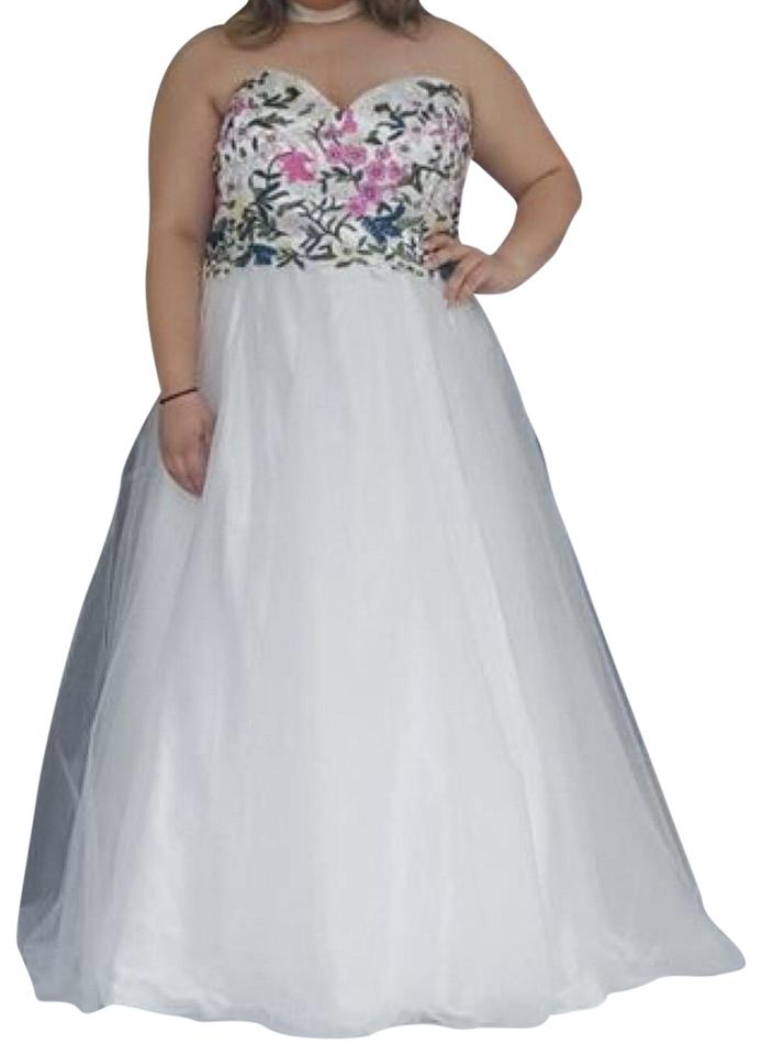 Davids Bridal Multicoloredwhite Embroidered Flower Long Formal
