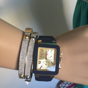 Michele $400 NWT Park Jelly Bean NAVY/GOLD Watch MWW06L000027