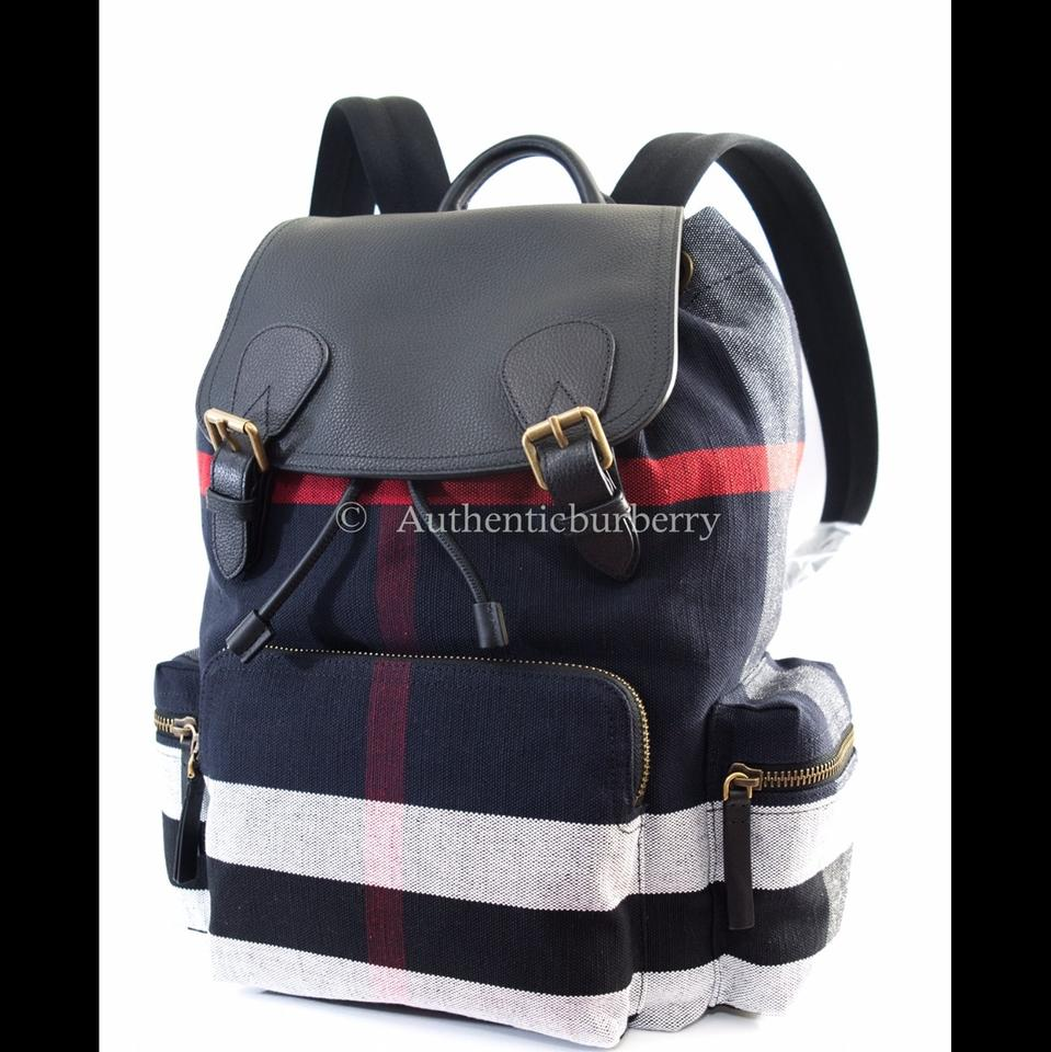 a64c75df8055 Burberry Mens Large Canvas Check   Leather Rucksack Black Backpack ...