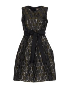 P.A.R.O.S.H. Round Collar Belted Jacquard Dress