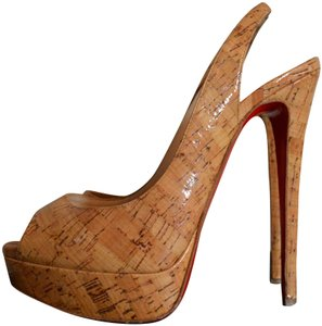 5a3b63f39 Christian Louboutin Cork / Nude / Tan / Patent Gloss Pumps - item med img