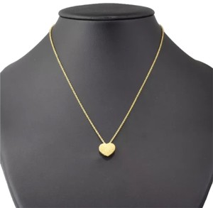 Italian Gold 18K Yellow Solid Gold Motif Heart Pendant Plus Necklace 4.7g