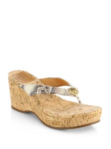 Tory Burch Suzy Wedge Snake Thong Flip Flop Brown Sandals