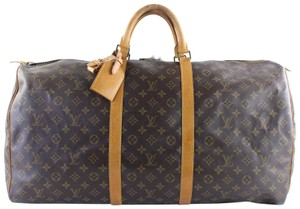 Louis Vuitton Keepall 60 Large Keepall Duffle Polochon Carryall Brown Travel Bag