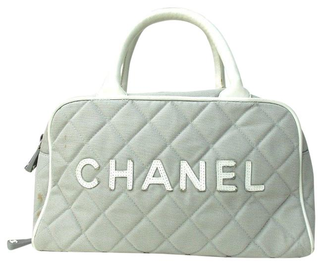 Item - Sports Line Boston Handbag Quilted Grey with White Canvas Satchel
