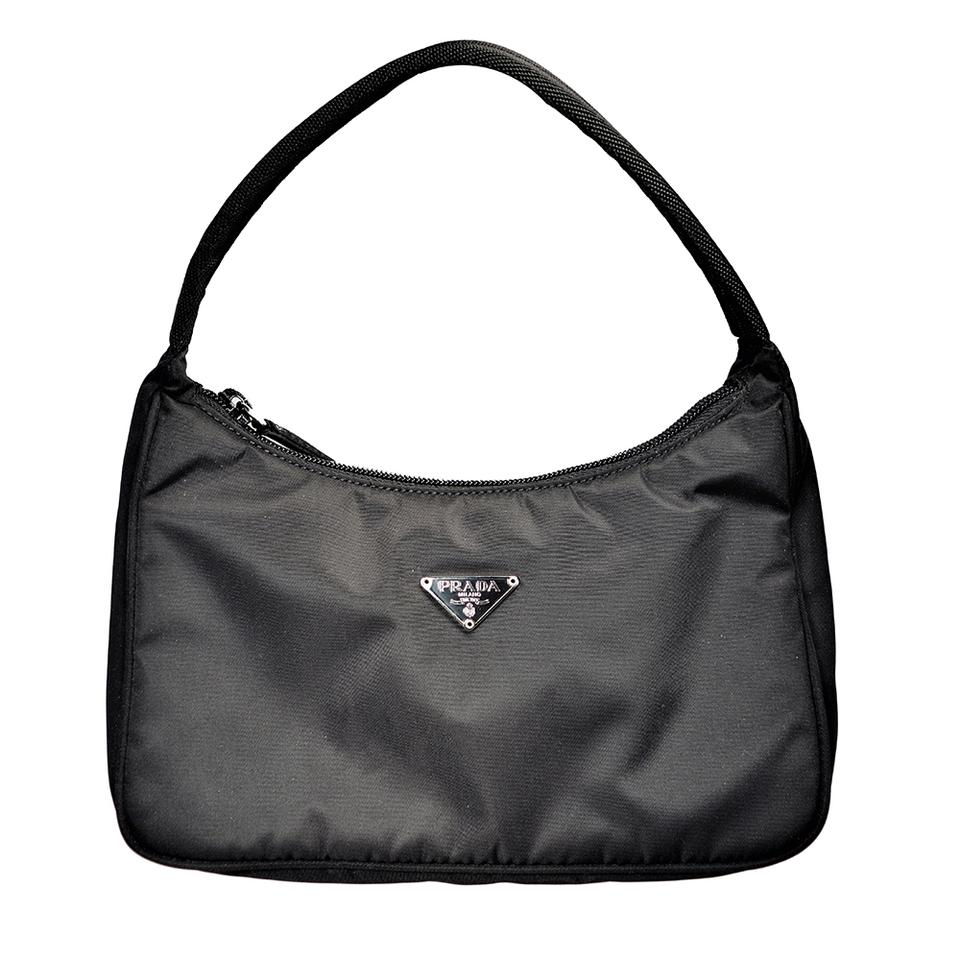 Prada Mini Tessuto Nylon Hobo Satchel In Black