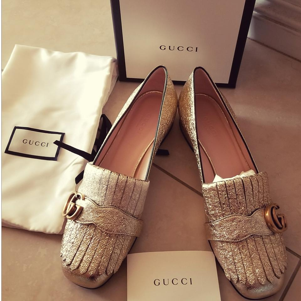 4c52970465 Gucci Gold Metallic Marmont Mid Loafers Pumps Size EU 38.5 (Approx ...