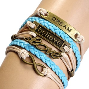 Multicolor Blue Bronze LOVE Believe DREAM Infinity Leather Wrap Bracelet