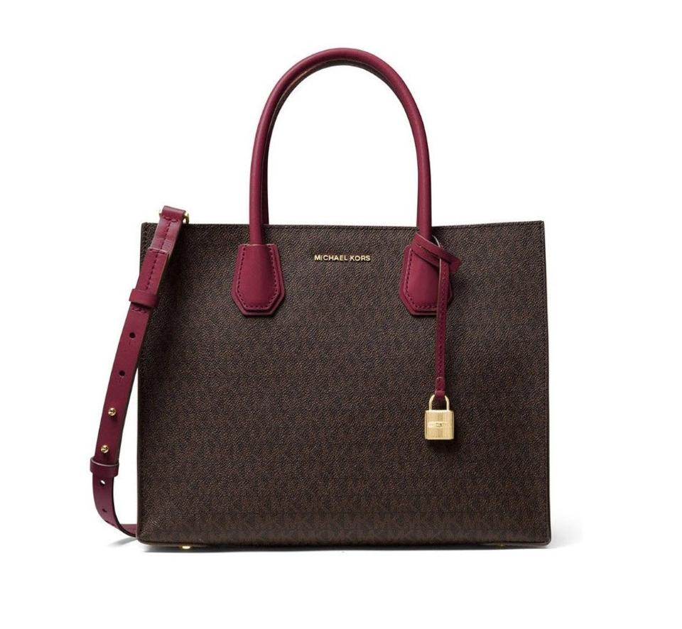 ae5a4cb28a50 Michael Kors Mercer Shoulder Satchel Brown Mulberry Leather Tote ...