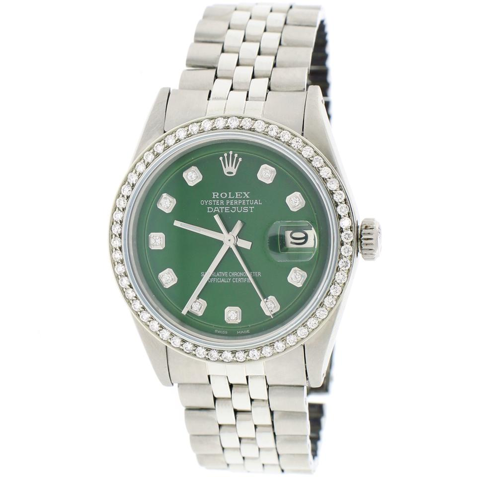 Rolex Steel W Vintage Datejust 36mm Jubilee W/Forest Green Diamond Dial  Bezel Watch