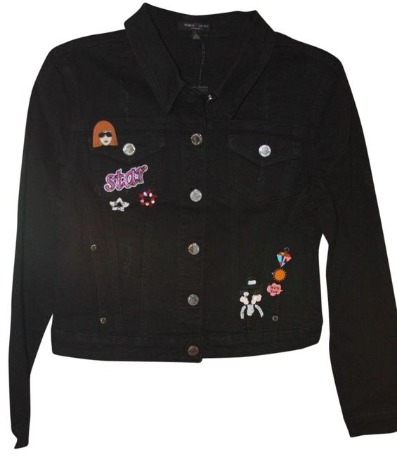 Item - Black And Pin and Patch Jean Women's Large Jacket Size 12 (L)